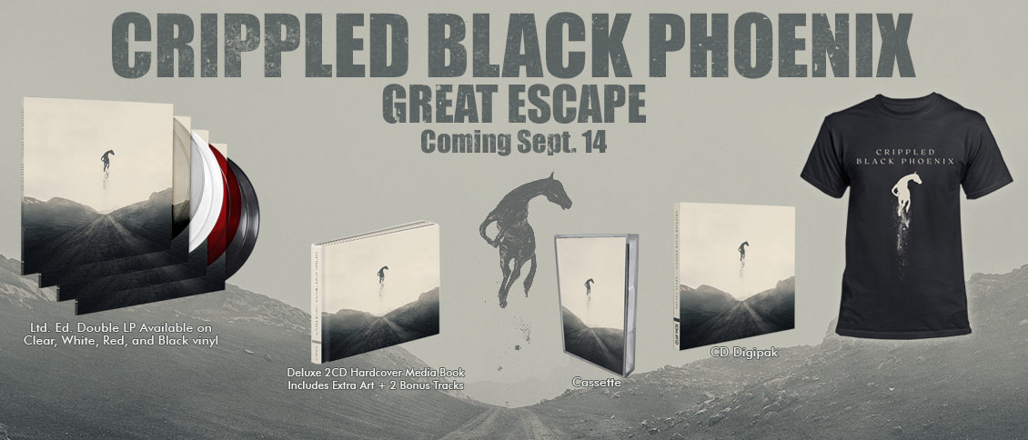 CRIPPLED BLACK PHOENIX return with their epic new album 'Great Escape'. The follow-up to 2016's towering full-length 'Bronze', 'Great Escape' sees the international collective blend passion and purpose with their dark and dreamy post-rock in an altogether different way. Their beauty is deceptive; the vast, sweeping songs weave sophistication and grandeur with dire warnings about a world spinning out of control. CRIPPLED BLACK PHOENIX truly have no equal; their music fits everywhere and nowhere at once, and 'Great Escape' is a beautiful, ominous, and stunning work of outsider art.