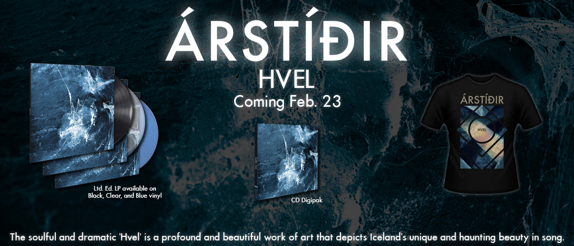 ÁRSTÍÐIR's soulful and dramatic third album 'Hvel' depicts Iceland's unique and haunting beauty in song. Their classically influenced indie folk-rock features rich and sweeping vocal harmonies, and epic, stirring strings. A profound and beautiful work of art, 'Hvel' is deeply moving and portrays the breadth of emotion and expression with fragile grace and firm resolve.