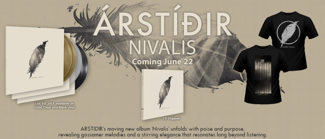 Iceland's ARSTIDIR unveil 'Nivalis', their long-awaited new album and follow up to 2015's critically-acclaimed 'Hvel'. On 'Nivalis', the trio steer their unique and moving indie-folk in a more subtle contemporary rock direction without sacrificing any of their hallmark beauty and grace. Tracks unfold with poise and purpose, revealing gossamer melodies that resonate long beyond listening. ARSTIDIR have come into their own as a world-class act, and 'Nivalis' is a stirring and elegant study in music's timeless qualities.
