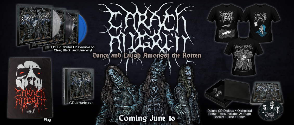 'Dance and Laugh Amongst the Rotten', the epic new album from horror metal masters CARACH ANGREN, revolves around the haunting of a young girl who has an unhealthy fixation with a Ouija board. On 'Dance and Laugh Amongst the Rotten', CARACH ANGREN push their unashamedly theatrical style of metal to intense new heights, blending eerie and extreme black metal with beautifully composed string sections and regal orchestral arrangements. CARACH ANGREN are in their prime, and 'Dance and Laugh Amongst the Rotten' is a next-level metal album for the ages!
