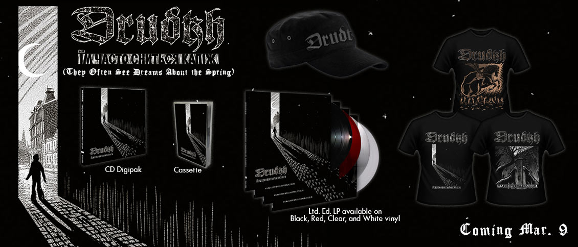With the new album 'They Often See Dreams About the Spring', DRUDKH's traditional black metal sweeps in like a cold wind from the East. Timeless frozen melodies adorn an uncompromising attack, creating yet another epic work from one of the genre's most important bands.