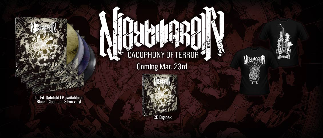 NIGHTMARER deploy a harsh and unrelenting battery of dissonant death on their aptly-titled new album 'Cacophony of Terror'. Building off the foundation laid by their 2016 'Chasm' demo, the international trio (feat. ex & current members of THE OCEAN, WAR FROM A HARLOTS MOUTH, GIGAN, & more) loose state-of-the-art extremity as nuanced and articulate as it is intense. NIGHTMARER is unquestionably a band on the rise, and with 'Cacophony of Terror' they've delivered 2018's first truly great album of world-class, modern death metal.